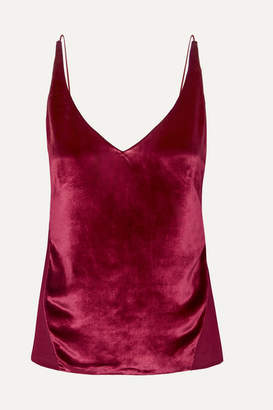 J Brand Lucy Velvet And Silk-georgette Camisole - Red