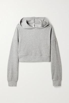 Alo Yoga Muse Cropped Ribbed Fleece Hoodie - Gray