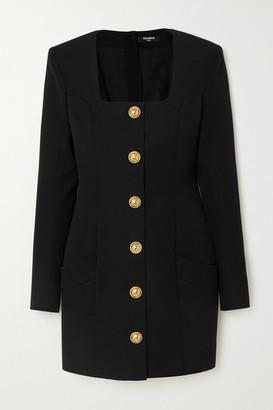 Balmain Button-embellished Grain De Poudre Wool Mini Dress - Black