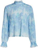 Ganni Pleated Floral Blouse