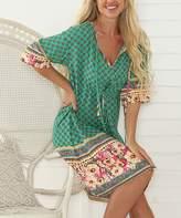 Hope Horizon Women's Casual Dresses Green - Green Floral Tie-Waist A-Line Dress - Women
