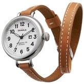 Shinola 'The Birdy' Double Wrap Leather Strap Watch, 34mm