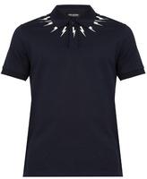 Neil Barrett Lightning Bolt-print Cotton-piqué Polo Shirt