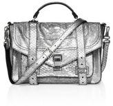 Proenza Schouler PS1 Medium Metallic Python-Embossed Leather Satchel