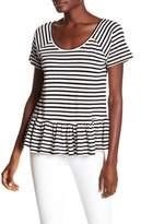 Lucky Brand Criss-Cross Back Striped Peplum Tee