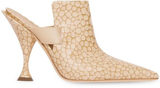 Burberry Stingray Print Leather Point-toe Mules
