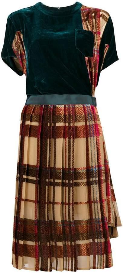 Sacai asymmetric plaid dress