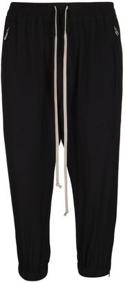 Rick Owens Black Silk-blend Track Pants