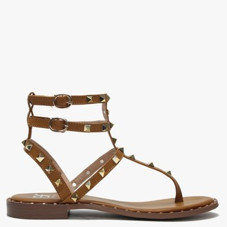 Df By Daniel Cube Tan Square Studded Gladiator Sandals