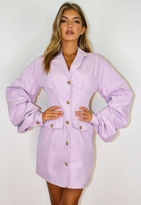 Missguided Mauve Ruched Sleeve Button Blazer Dress