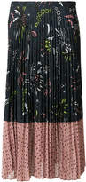 Markus Lupfer polka dotted and floral printed pleated skirt