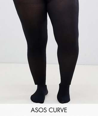 Asos DESIGN Curve 2 pack 60 denier black tights in super stretch fit