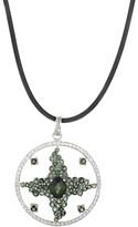 Enzo 18K White Gold Green Tourmaline & Diamond Enhancer Pendant Necklace