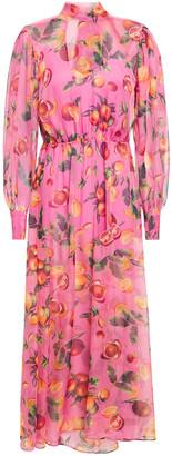 MSGM Layered Floral-print Gathered Chiffon Midi Dress
