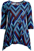Glam Brown & Blue Chevron Sidetail Tunic - Plus