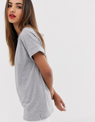 ASOS DESIGN oversized boyfriend t-shirt with roll sleeve in gray marl