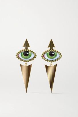 Lito Tu Es Partout 14-karat Gold, Enamel And Diamond Earrings - one size