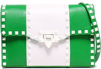 Valentino Studded Two-tone Leather Shoulder Bag