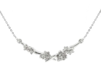 Lee Renee Cherry Blossom Branch Necklace Silver