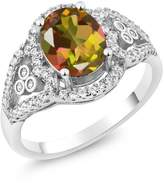 Gem Stone King 2.32 Ct Oval Mango Mystic Topaz 925 Sterling Silver Ring