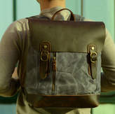 EAZO Zip Front Waxed Canvas Backpack With Leather Flap