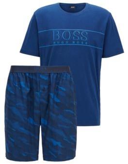 BOSS Cotton pyjama set with animal-pattern jacquard shorts