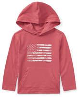 Ralph Lauren American Flag Jersey Hoodie, Red, Size 5-7