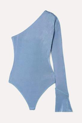 Alix Nyc Alix NYC - Elridge One-shoulder Stretch-jersey Thong Bodysuit - Light blue