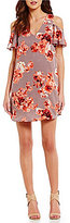 Sugar Lips Sugarlips Floral Print Cold Shoulder Sheath Dress