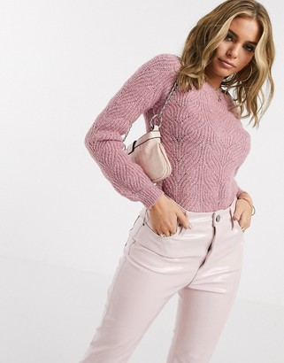 Lipsy cable knit jumper in pink