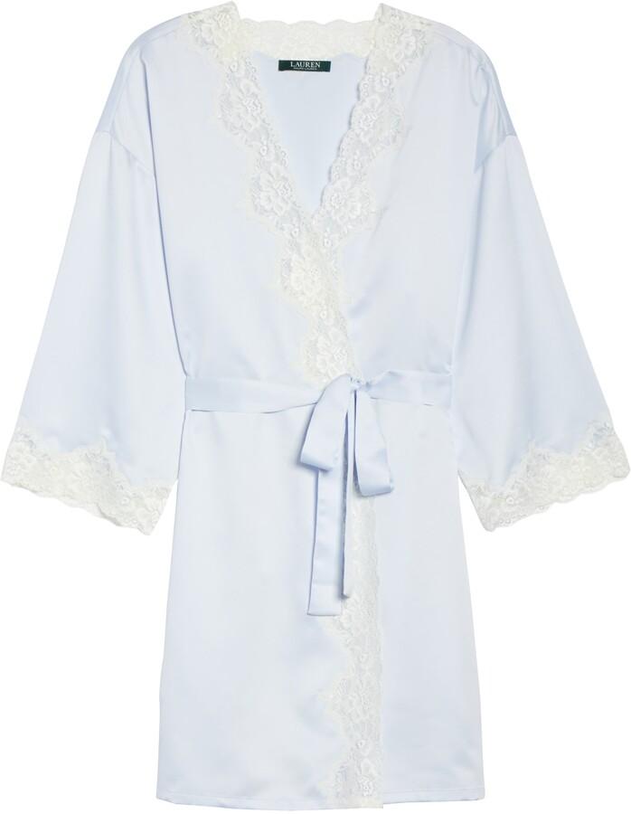 Thumbnail for your product : Lauren Ralph Lauren Lace Trim Satin Robe