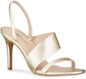 Neiman Marcus Helen Metallic Leather Evening Sandals