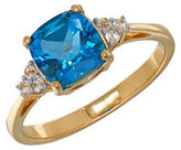 Lord & Taylor Blue Topaz and 14K Yellow Gold Ring