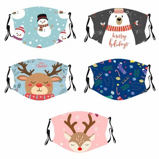 Ac1 5PC Child Christmas Print Breathable Reusable Washable Headband Face Bandana