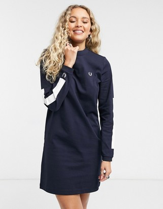 Fred Perry crew-neck sweatshirt dress with long sleeves in navy