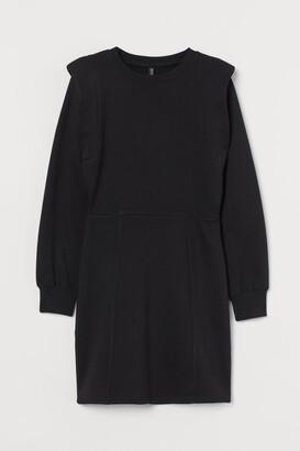 H&M Fitted Sweatshirt Dress - Black