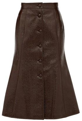 Françoise Francoise - Button-down Patent-vinyl A-line Skirt - Brown