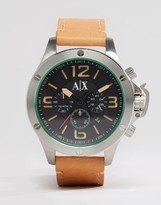 Armani Exchange AX1516 Chronograph Leather Watch In Tan