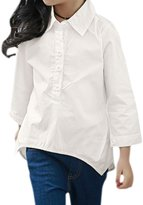 uxcell® Girl Half Placket Asymmetric Hem Tunic Blouse Allegra Kids
