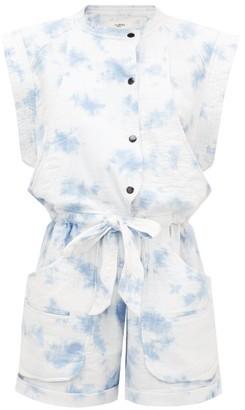 Etoile Isabel Marant Blithe Tie-dye Seersucker Playsuit - Blue White