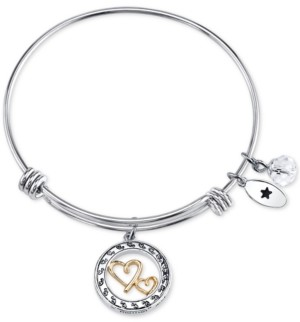 Unwritten Two-Tone Double Heart Mother Daughter Charm Bangle Bracelet in Stainless Steel