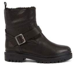 BOSS Shearling-lined boots in Italian leather with buckle detail