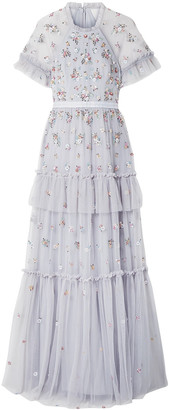 Needle & Thread Lustre Tiered Embellished Tulle Gown