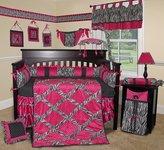 Sisi Custom Baby Bedding - Hot Pink Zebra 13 PCS Crib Bedding