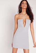 Missguided Crepe Strappy Cross Front Mini Dress Grey