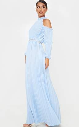 PrettyLittleThing Dusty Blue Pleated Cold Shoulder Maxi Dress