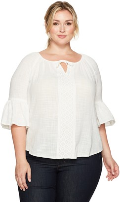 Karen Kane Women's Plus Size Split Neck Bell Sleeve Top