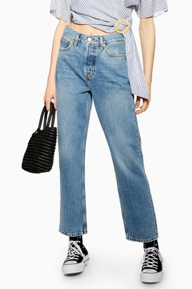 Topshop Womens Mid Blue Dad Jeans - Mid Stone