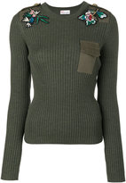 RED Valentino patched swaeter - women - Silk/Cotton/Virgin Wool - S