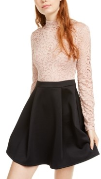 B. Darlin Juniors' Mock Neck Lace Top Skater Dress